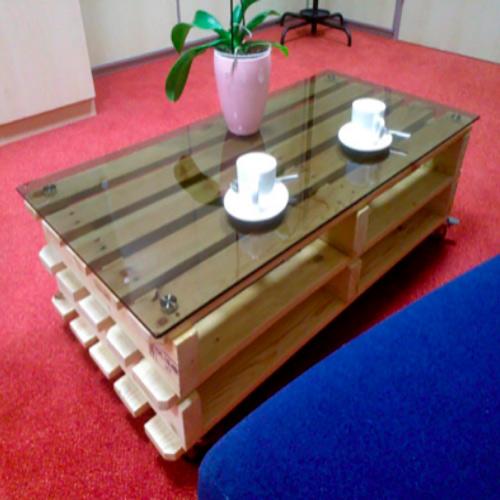 Mesa de palets, uno de los materiales mas usados para muebles industriales